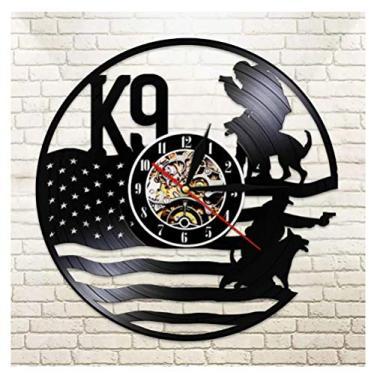 Imagem de Relógio de disco de vinil temático musical, presente de polícia e cães militares, ideia para amantes de música, homens, mulheres, adolescentes e crianças, arte com tema vintage exclusivo, preto, 30 cm