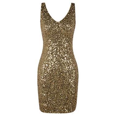 Imagem de PrettyGuide Vestido feminino de lantejoulas, coquetel, gola V, colado ao corpo, vestido de festa com glitter, Dourado, X-Large