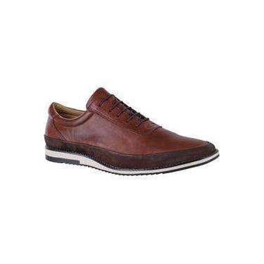 Sapato Casual Amarrar Couro Nobre Connect 050 Tabaco