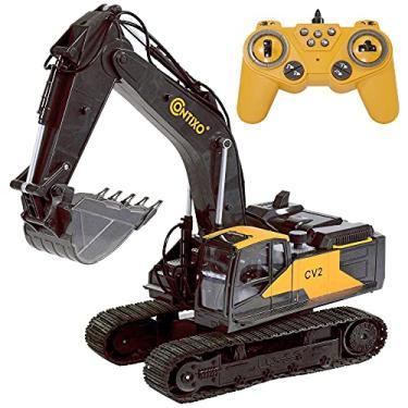 Imagem de Remoto Controle 1:24 Escala com 17 canais RC Escavadeira CV2 Brinquedos para Crianças - Hobby Grade Construção Veículo por Contixo, Presente