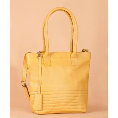 Bolsa Soulier Bolsa Media Foco Em Couro Amarelo  feminino