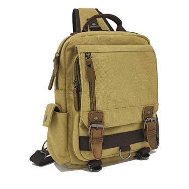 Sechunk Bolsa de lona tipo mensageiro, bolsa transversal de ombro, Caqui, Small