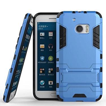 SCIMIN Capa para HTC 10, capa para HTC 10 à prova de choque, capa rígida híbrida resistente à prova de choque com suporte para HTC 10 de 5,2 polegadas (azul marinho)