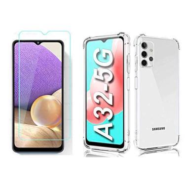 Kit Capinha e Película Comum Compatível Samsung Galaxy A32 (Capa Anti Impacto e Película Vidro Comum Não Cobre Toda Tela)