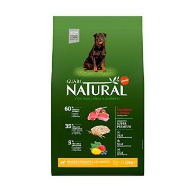 Ração para Cães Adultos Guabi Natural Raças Grandes e Gigantes Sabor Cordeiro e Aveia 15Kg