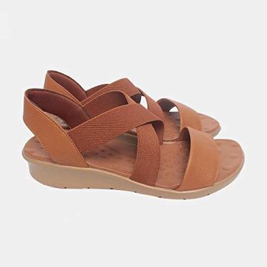 Sandália de Elástico Malu Super Comfort Cléo Feminino Caramelo 37