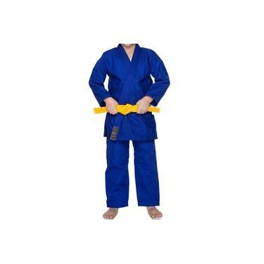 Kimono Jiu-jitsu Judô Trançado Azul Royal Infantil Rythmoon