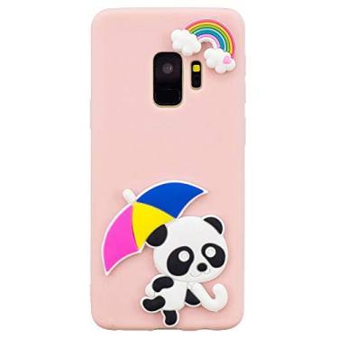 Capa para Galaxy S9, SHUNDA 3D desenho fofo fosco fino e macio de silicone de TPU (poliuretano termoplástico) com absorção de choque, capa protetora para Samsung Galaxy S9 5,8 polegadas - Panda arco-íris