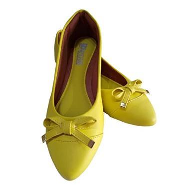 Sapatilha feminina amarela com Bico Fino Tamanho:34;Cor:Amarelo