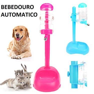 Bebedouro + Comedouro Gato Gatos + Cachorro Bico Lambe Bilha Azul