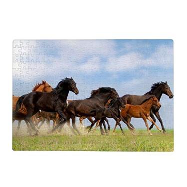 Imagem de ColourLife Quebra-cabeças quebra-cabeça presente para adultos, adolescentes, cavalos, madeira, jogos de quebra-cabeça 300/500/1000 peças, multicolorido