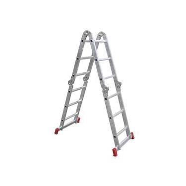 Escada Articulada 16 Degraus 4x4cm Prata