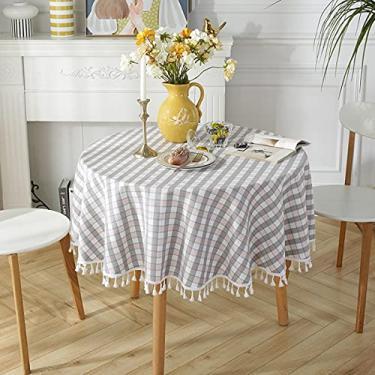 Imagem de jia cool Toalha de mesa de linho de algodão com borla para jantar de cozinha, toalhas de mesa sem rugas (220 cm em pó de grade redonda)