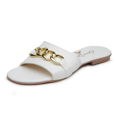 Imagem de Sandália Rasteira Flat Branca com Detalhe Dourado  feminino