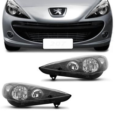Farol Peugeot 207 2007 2008 2009 2010 2011 2012 2013 2014 2015 Máscara Negra Foco Duplo Lado Direito Passageiro