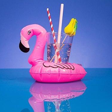 Bóia Inflável de Piscina Porta Copo Lata - Flamingo