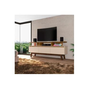 Rack Rubi Retrô para TVs até 60 Polegadas 2 Portas Cinamomo e Off White Bechara
