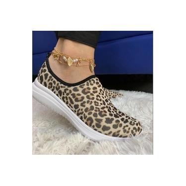 Imagem de Calce Fácil Tenis Meia Shoes Slip On Animal Print Feminino Macio Confortável Casual Academia Sem Cadarço Blogueira Lançamento De Shoes Barato