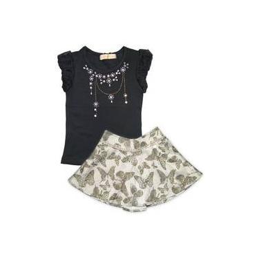 Camiseta Menina Preta Com Cristais E Saia De Borboletas Estampa Oncinha Gabriela Aquarela