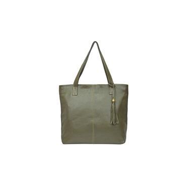 Imagem de Bolsa Feminina Verde Shopbag Sacola Grande Couro Legítimo Metais Dourados Madamix