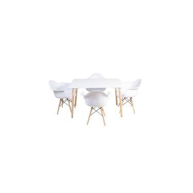 Imagem de Conjunto Mesa Jantar Eiffel 120x80cm Branca + 4 Cadeiras Eames Eiffel Com Braços Branca