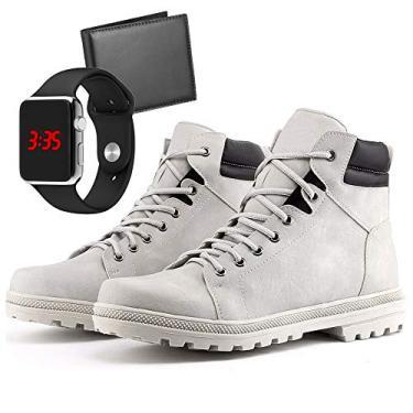 Bota Coturno Adventure Com Carteira e Relógio LED Silver Masculino DUBUY R02DB Tamanho:41;cor:Branco;gênero:Masculino
