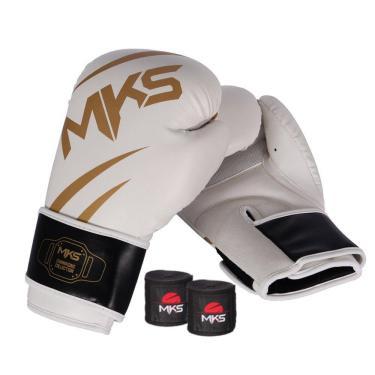Kit Luva Boxe Mks Champions V3 Branco Bandagem 2,55M 14Oz