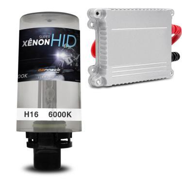 Kit Xênon Moto Completo H16 6000K 35W 12V Lâmpada Extremamente Branca e Reator Função Anti Flicker