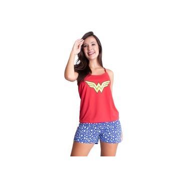 Pijama Curto Adulto Feminino Baby Doll Heróina Mulher Maravilha 003