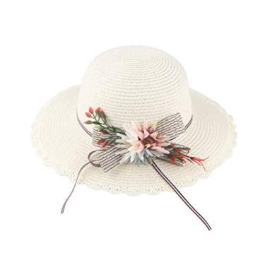 PRETYZOOM Chapéu de sol de palha de flor chapéu de praia respirável adorável chapéu de proteção solar (padrão de girassol branco para crianças) Suprimentos para chapéu de sol de verão