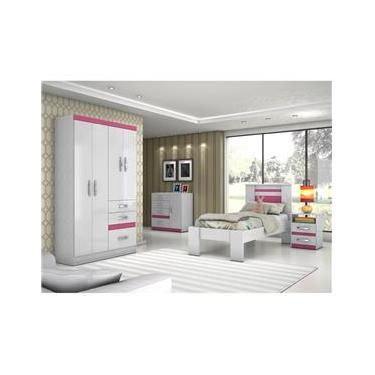 Dormitório Solteiro com Guarda Roupa, Cômoda, Cama e  Moval C33 Branco/Rosa