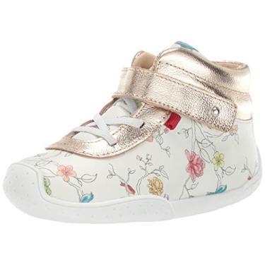 Mocassim Marc Joseph New York infantil de couro para meninos/meninas, feito no Brasil, floral, White Floral/Gold, 4 Toddler