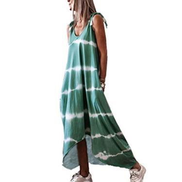 Vestido maxi feminino casual tie dye, gola V boho, camiseta solta sem mangas, vestido longo com fenda lateral para mulheres, Verde, S
