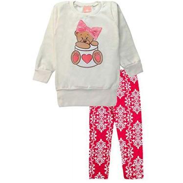 Conjunto Moletom Infantil Feminino Blusa e Legging Cotton 1 a 3 Anos Cor:Rosa;Tamanho:2