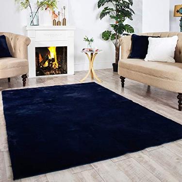 Tapete de área para sofá de poltrona de pele de coelho macio para quarto chão sofá sala de estar, Azul marino, 3ft x 5ft