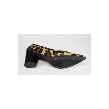 Sapato Usaflex Couro Scarpin Salto Alto Onça