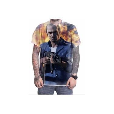 Camiseta Camisa Personalizada Game Gta V 5 Trevor Fuck Fogo