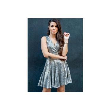 Vestido Miss Misses transpassado Prata 50289