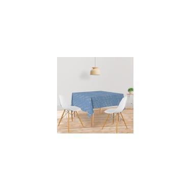 Imagem de Toalha De Mesa Quadrada Tecido Oxford Azul Arabesco TL130 - 140x140cm