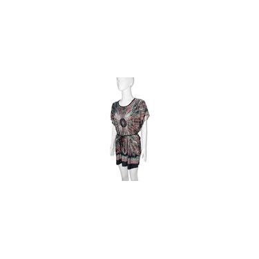 Vestido feminino fashion de seda gelada com estampa floral nacional O pescoço