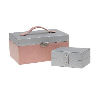 Porta-joias maleta detalhe alça prata Rosê
