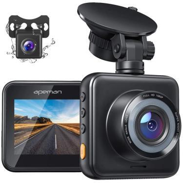 APEMAN Dual Dash Cam para carros frente e traseira com visão noturna 1080P FHD Mini em Câmera de Carro 170° Grande Angular Gravador de Condução com Sensor G, Monitor de Estacionamento, Gravação de Loop, WDR