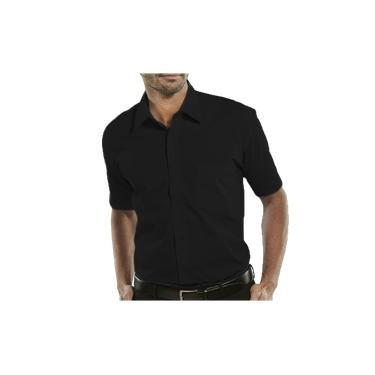 Camisa Social Manga Curta 100% Microfibra Masculina Preta Bom Pano