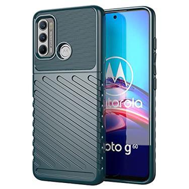 Imagem de TingYR Capa para Motorola Moto G60, ultrafina e flexível TPU com absorção de choque, antiarranhões, capa de borracha flexível premium, capa para smartphone Motorola Moto G60. (verde)