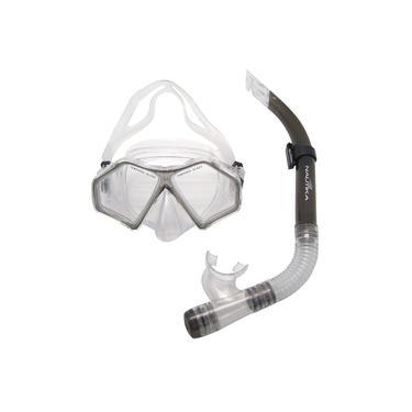 Kit para Mergulho e Snorkel com Máscara e Respirador Spider Preto - Nautika