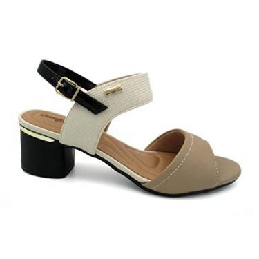 Sandália Salto Baixo Comfortflex Branco/Bege