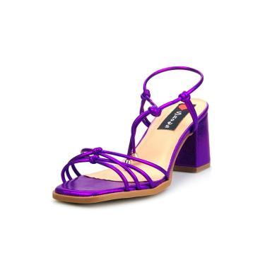 Sandália Salto Bloco Love Shoes Tiras Delicadas Amarração Metalizado Roxo  feminino