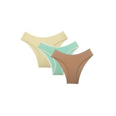 Kit com 3 Calcinhas Alta Cotton Vangli - Chocolate/Marfim/Verde