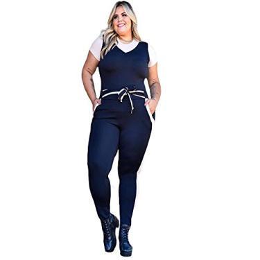 Conjunto Feminino Calça E Blusa Plus Size Malha De Crepe (Mostarda)