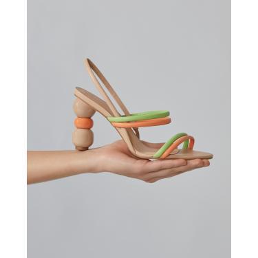 sandália tiras meia cana salto escultural Feminino AMARO LARANJA 40